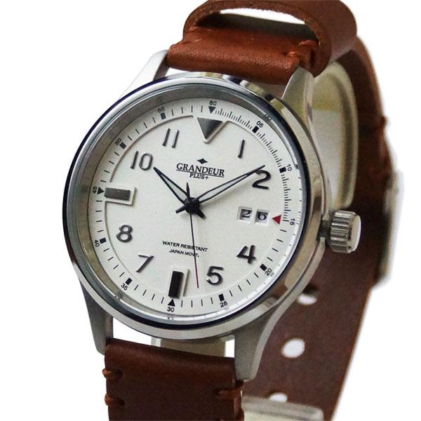 グランドールプラス GRANDEUR PLUSビッグカレンダー メンズ腕時計 GRP005W1ベルト ブラウンレザーkTOuXZiP