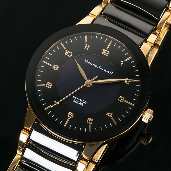 Mauro Jerardi マウロジェラルディ ソーラー メンズ腕時計 ブラック MJ043-1