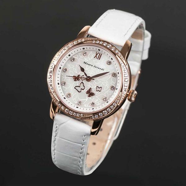 Mauro Jerardi マウロジェラルディ ソーラー レディース腕時計 ピンクゴールドケース/バンドカラー:ホワイト MJ046-6