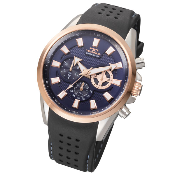 TECHNOS (technos) the chronograph model T6396 pink gold case and blue dial