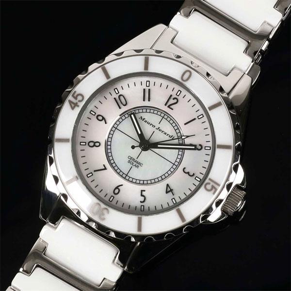 Mauro Jerardi マウロジェラルディ ステンレス&セラミックソーラー メンズ腕時計 ホワイト MJ041-2