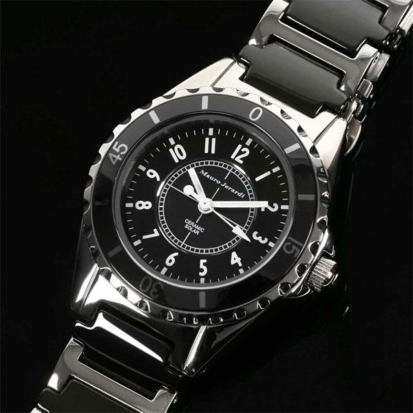 Mauro Jerardi マウロジェラルディ ステンレス&セラミックソーラー レディース腕時計 ブラック MJ042-1