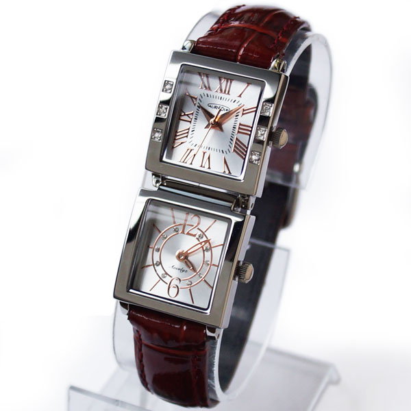 [Aureole] AUREOLE dual time ladies watch-SW-570L-3 Silver Dial / belt color: Brown