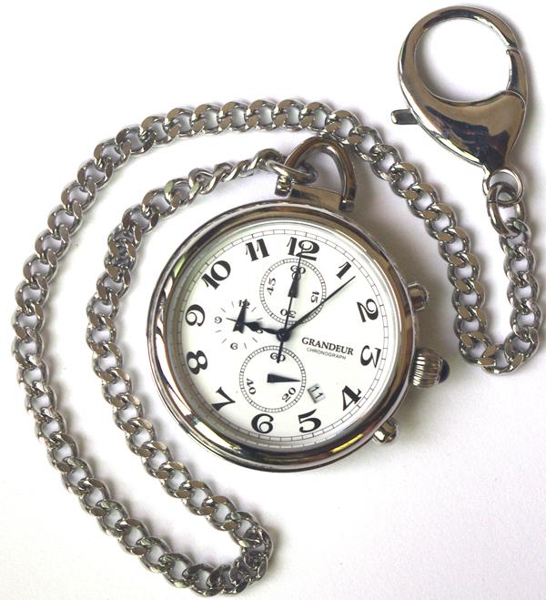 GRANDEURグランドールエレガンス クロノグラフ機能付懐中時計OSC012 W1 カラー/白