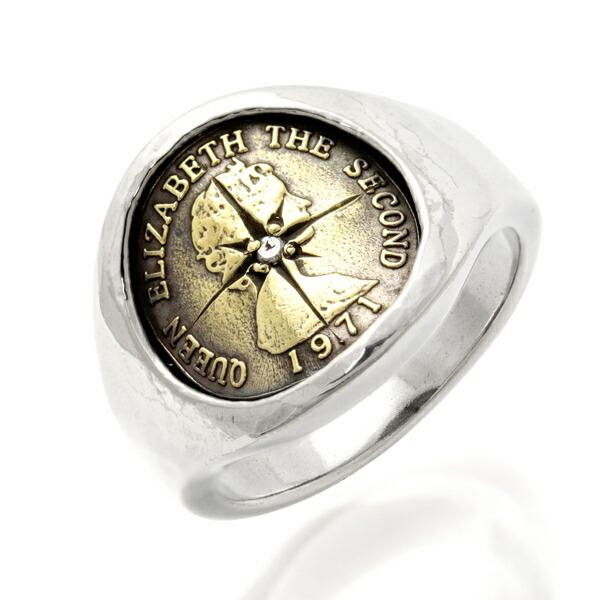 amp japan/アンプジャパン 「God Save The Queen」リング コイン 真鍮 ダイヤモンド エリザベス2世 メンズ 16AO-245【送料無料】【ギフトOK】【smtb-k】