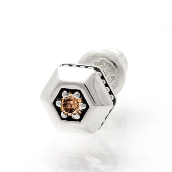 M's collection/エムズコレクション ピアス シルバー シンプル ダイヤモンド ヘキサゴン 燻し メンズ アクセサリー X0324BRD 【送料無料】【ギフトOK】【smtb-k】