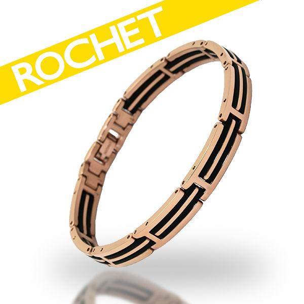 ROCHET/ロシェ サージカルステンレス ブラックシリコン ローズゴールド メンズ レディース ブレスレット B033184 【ギフトOK】【smtb-k】