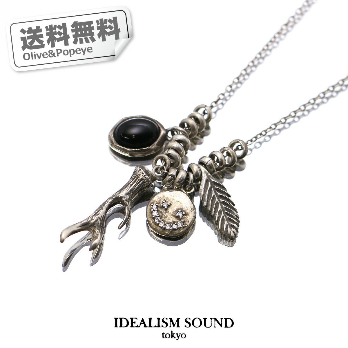 あす楽 IDEALISM SOUND/イデアリズム・サウンド シルバー ネックレス オニキス スマイル リーフ 北欧 ジルコニア ハンドメイド IDEA13076