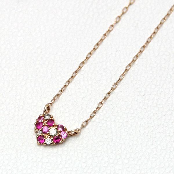 レディースピンクゴールドネックレス/ハート/10K/ダイヤモンド/ルビー PA54769SM【ギフトOK】【smtb-k】