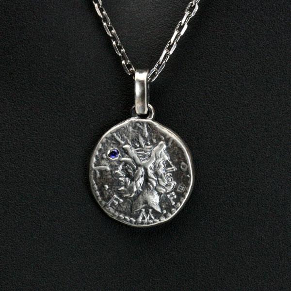 M's collection/エムズコレクション ブルーサファイア&アンティークメダル・シルバー925ペンダント M0481-SAG 【ギフトOK】【smtb-k】