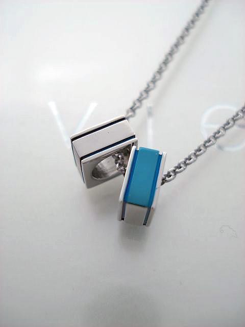 vie/ヴィー ステンレス スクエア ダブル チューブ ペンダント(ブルー) vie-N1090BL 【ギフトOK】【smtb-k】