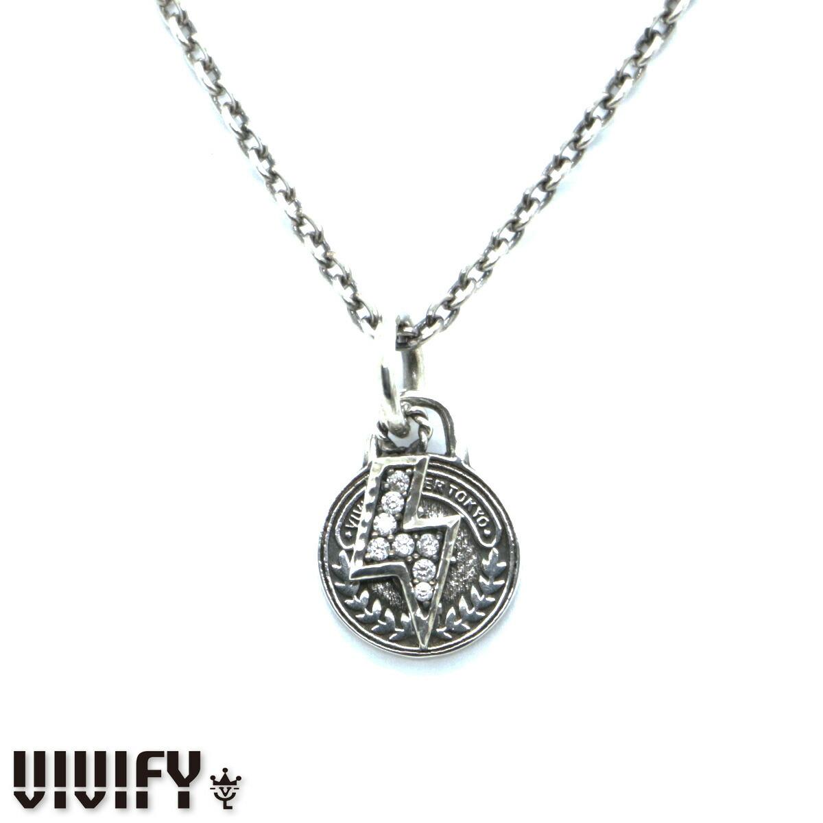 あす楽 VIVIFY/ビビファイ コイン ライトニング ネックレス 白 黒 選べるジルコニア プレゼント VFN-231