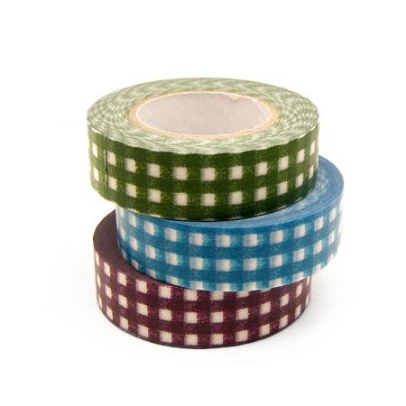 Printed masking tape 3 colors set (gingham, polka dot dark colors)