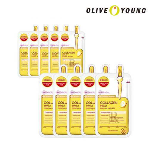 OLIVEYOUNG公式 MEDIHEAL コラーゲンインパクトエッセンシャルマスクREX 驚きの価格が実現 10枚 シートマスク 韓国コスメ 着後レビューで 送料無料 オリーブヤング公式 パック メディヒール 海外直送