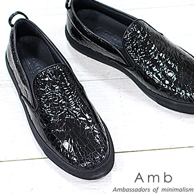 【 正規取扱店 】 Amb ( Ambassadors ) スニーカー スリッポン 2000 CRACK BLACK エーエムビー (アンバサダーズ)sneaker クロコ ブラック メンズ 靴