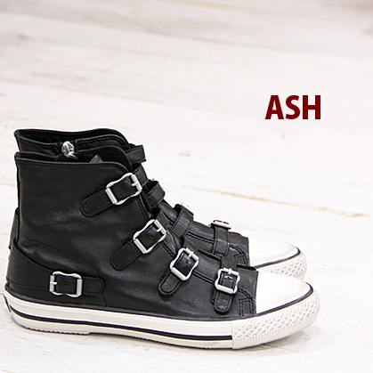 2/21再入荷 【あす楽】 【 日本正規取扱店 】 ASH sneaker スニーカー Virgin Black アッシュ レザー 靴 レディース ハイカット shoes