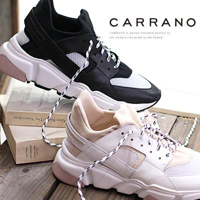 4/17新作 【あす楽】 CARRANO sneaker スニーカー 605000 WH/C(ホワイト) BL/C(ブラック) カラーノ レザー 靴 レディース