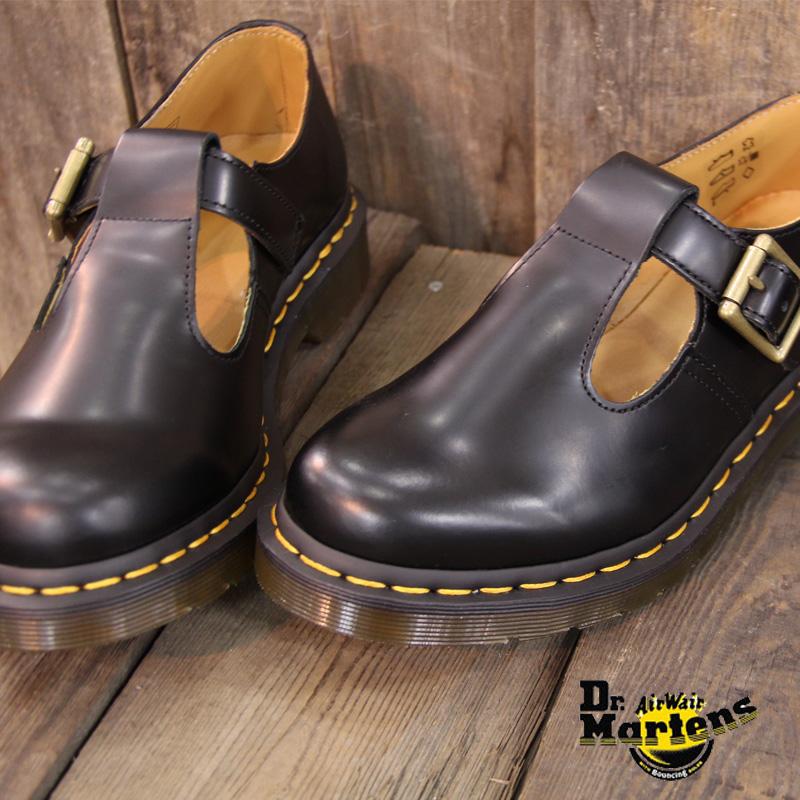 【あす楽】 【 国内正規品 】 ドクターマーチン レディース シューズ ストラップ Dr.Martens 14852001 CORE POLLEY T-BAR BLACK コア ポーリー 靴  【マーチン 8ホール 3ホール に並ぶ人気】
