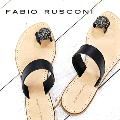 【あす楽】 FABIO RUSCONI フラット ファビオ ルスコーニ サンダル D831 ブラック ビジュー