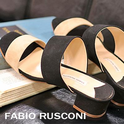 FABIO RUSCONI サンダル 3502 ブラック/ベージュ ファビオルスコーニ フラット 【 ファビオ ルスコーニ 】