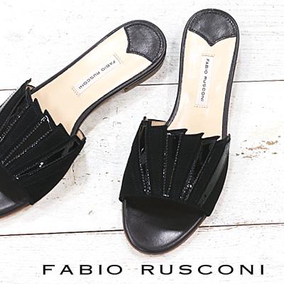 【あす楽】 【 セール sale 】 FABIO RUSCONI サンダル 4013 ブラック ファビオルスコーニ フラット 【 ファビオ ルスコーニ 】