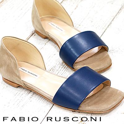 3/4新作 FABIO RUSCONI フラット S-4776 NATUR-BLUE/CUOIO ファビオ ルスコーニ サンダル 【 ファビオルスコーニ 】