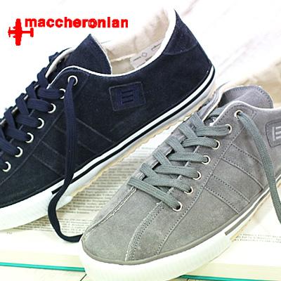 【あす楽】 【 期間限定特別価格 】 maccheronian 靴 GRAY NAVY マカロニアン 2215-S BH22 スニーカー メンズ レディース sneaker レザー