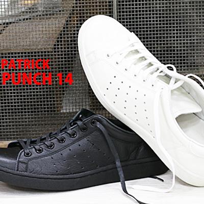 3/28再入荷 【 ケア品のオマケ付 】 【 正規取扱店 】 PATRICK PUNCH 14 sneaker ホワイト ブラック パトリック パンチ スニーカー メンズ レディース 【 ケベック に並ぶ人気 】