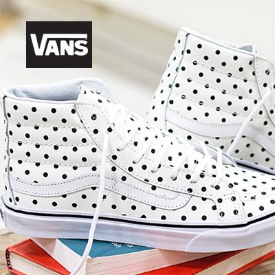 【あす楽】 VANS SK8-HI Slim (Leather Polla Dots) White バンズ スケートハイ スリム レディース スニーカー