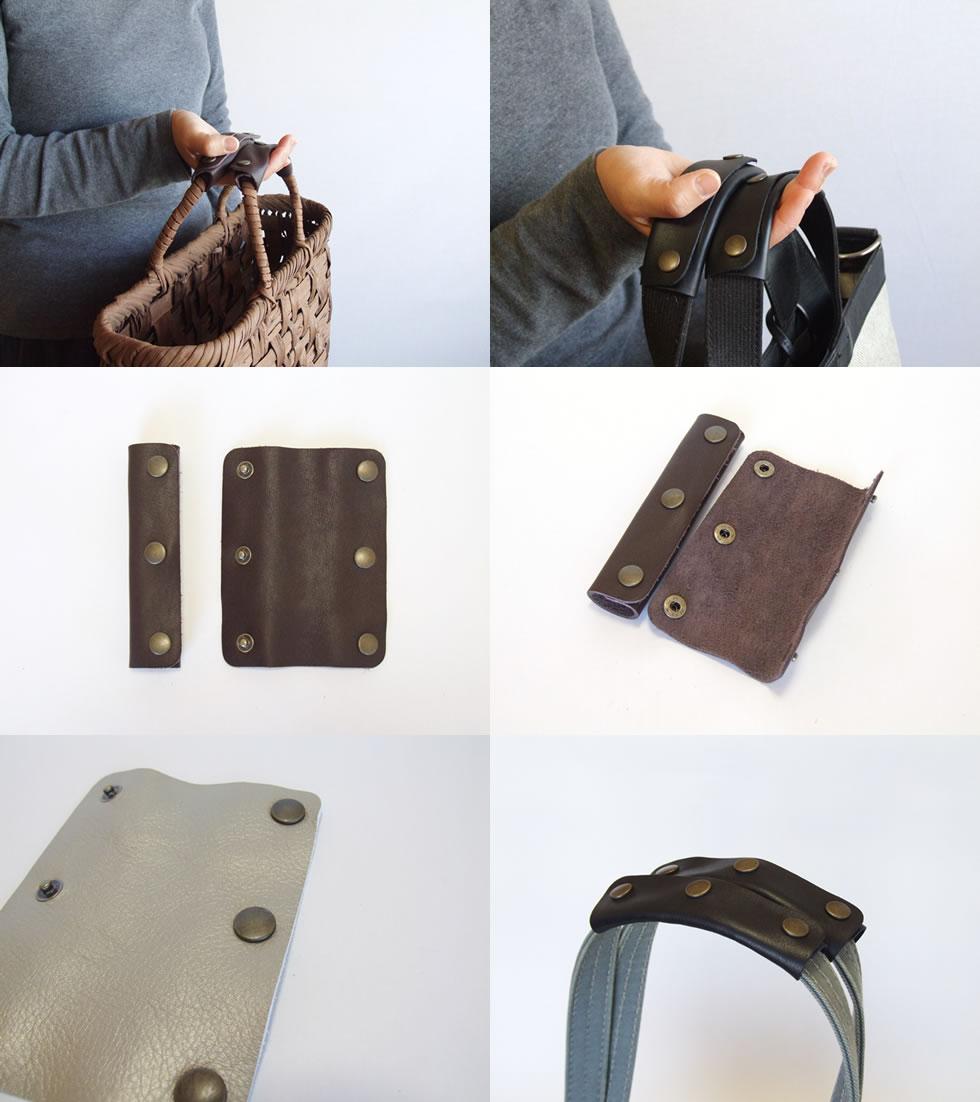 【SALE】【メール便】かごバッグ、トートバッグ、ビジネスバッグ用の本革ハンドルカバーワイド3つボタンタイプ 2枚1組メール便6組までOK!