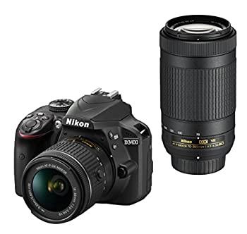 『1年保証』 中古 Nikon デジタル一眼レフカメラ D3400 ダブルズームキット 5☆好評 D3400WZBK ブラック