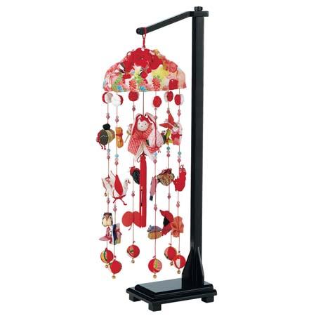 つるし雛 つるし飾り 吊るし【お節句飾】【お祝い飾り】 正絹雪輪兎(中) スタンド付  高66cm