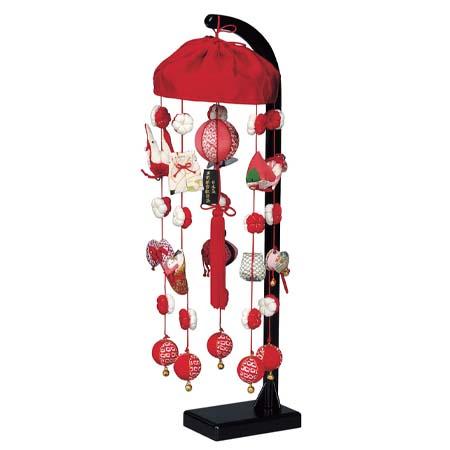 つるし飾り つるし雛 お祝い飾り 送料無料 [ 正絹小雪 (小) スタンド付 高さ47cm ]
