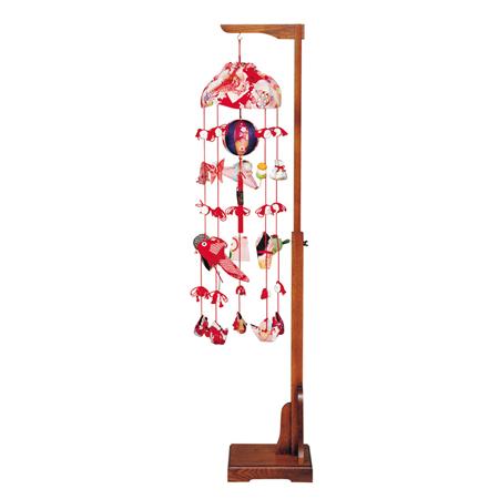 つるし飾り つるし雛【お節句飾】【お祝い飾り】 正絹古今(小) 伸縮式スタンド付  高125cm