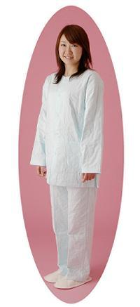 パシーマえり無し長袖パジャマ(LLサイズ 長ズボン まる柄 薄タイプ)適応身長175~180適応ウエスト90~95 パシーマ えりなしパジャマ