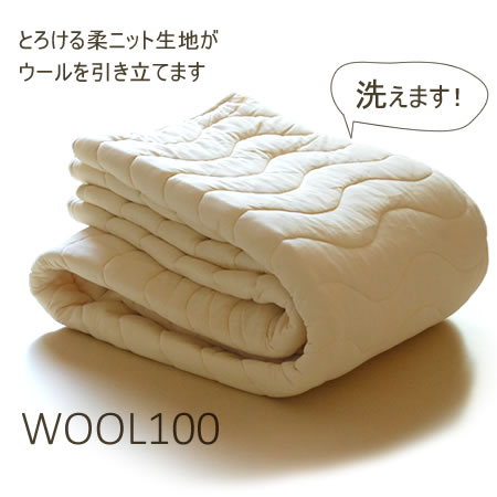 サラッと爽やかウールケット繊維の王様ウールを使用夏蒸れずに冬暖か!家庭で洗濯可 羊毛肌ふとん インナーケット