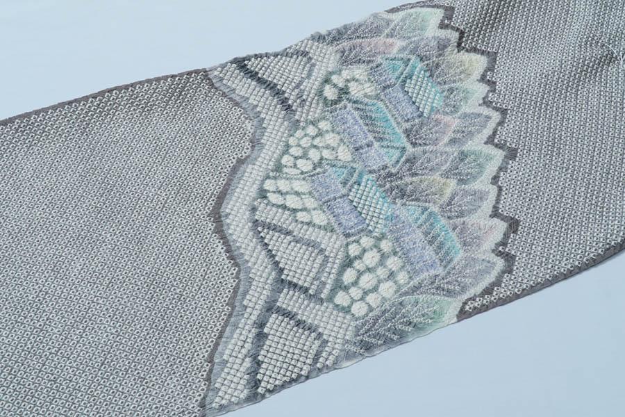 きぬたや 名古屋帯 未仕立て 反物 絞り 絹 正絹 反物
