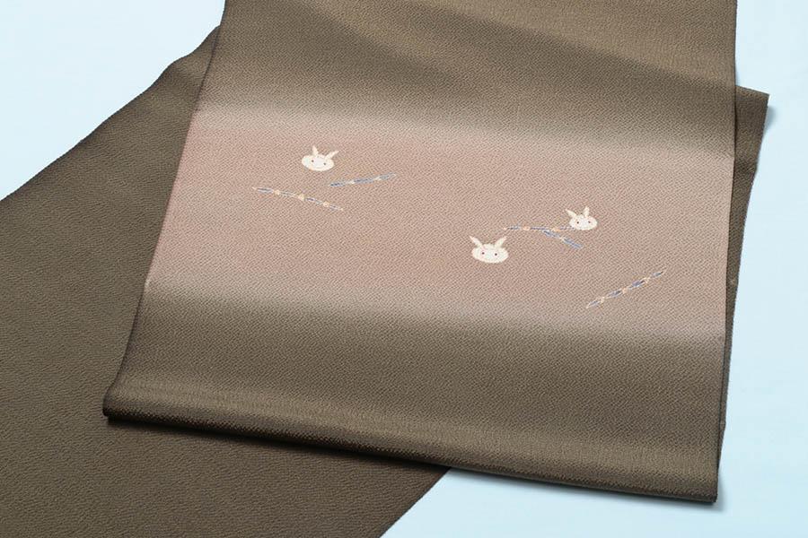 【ゴールデンウィーク10%off】名古屋帯 正絹 縮緬 うさぎ 染帯 小紋 紬 着物 きもの 染め帯 未仕立て 反物