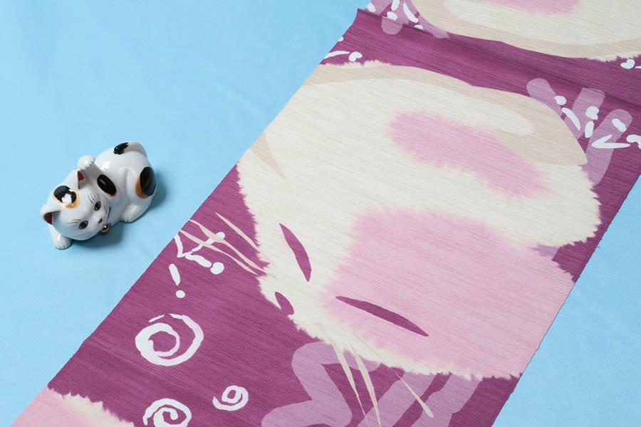 【ゴールデンウィーク10%off】帯揚げ 猫 正絹 おしゃれ カジュアル 衿秀 小紋 コーディネート 木綿 紬