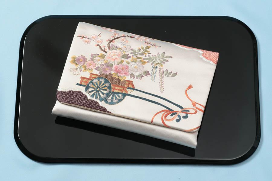 茶道具 数寄屋袋 バックinバック  西陣織 刺繍入り 花車