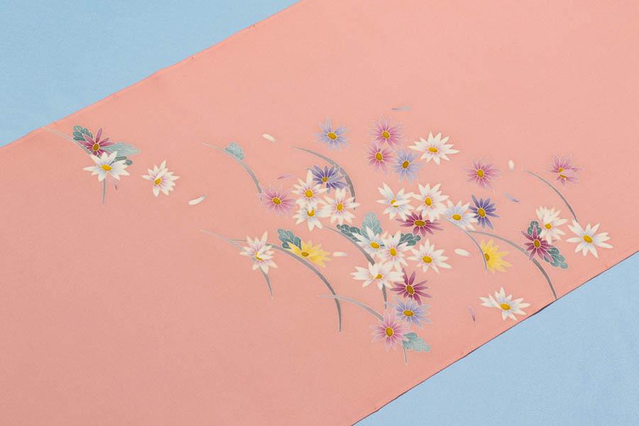 【Max5000円オフクーポン!】加賀友禅 塩瀬の染帯 小菊模様