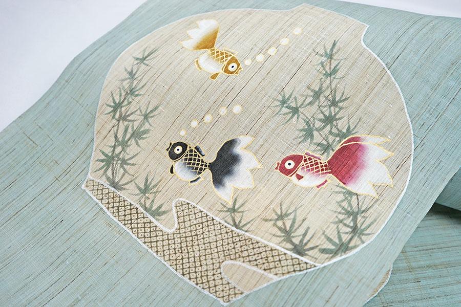 名古屋帯 着物 夏帯 野口 染 麻 本麻 未仕立て 新品 カジュアル 金魚 しゃれ帯
