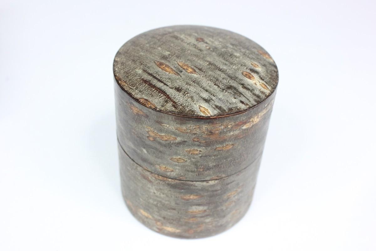 藤木 素筒茶筒 平 霜降皮