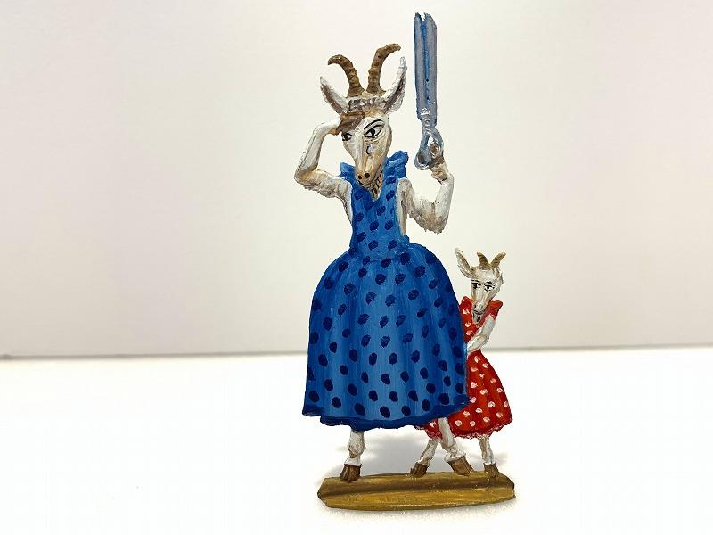 錫 飾り スタンド ヤギのお母さんと子ども Wilhelm Schweizer ウィルヘルム・シュヴァイツアー ドイツ製