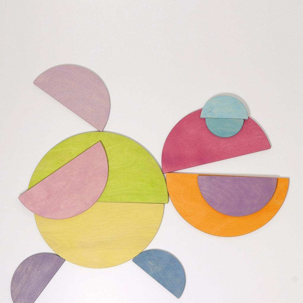 【今すぐクーポンが使える】グリムス半円盤パステル(LargeSemicircles,rainbowcolors,11pieces)grimms木のおもちゃラッピング無料出産祝い2歳3歳4歳おもちゃ