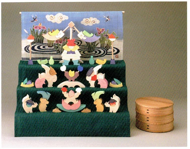 小黒三郎・組み木の五月人形・楕円武者三段飾り(特製垂幕・菖蒲)