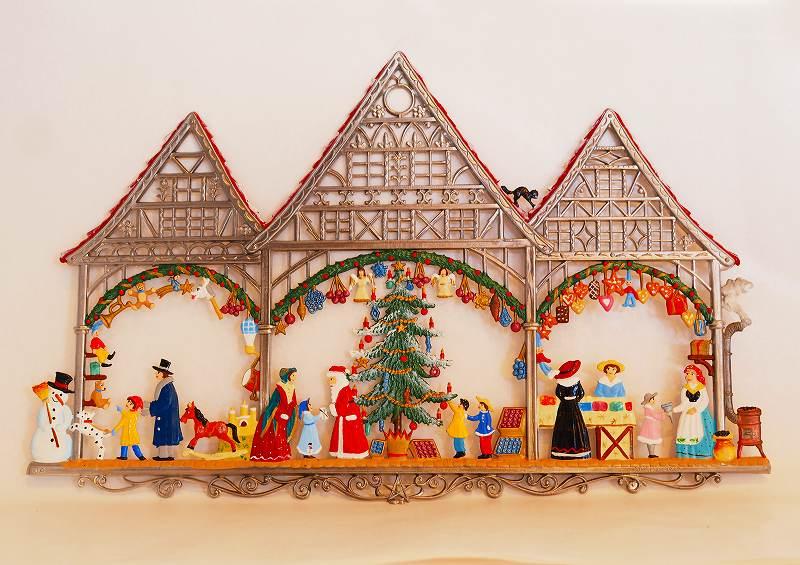 錫の飾り 吊り下げ型 ウィルヘルム・シュヴァイツアー クリスマスのお家とサンタ オーナメント