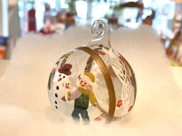 ガラス玉オーナメント雪遊びをする子どもたち5cmクリスマスツリーオーナメントPETERPRIEESオーストリア製