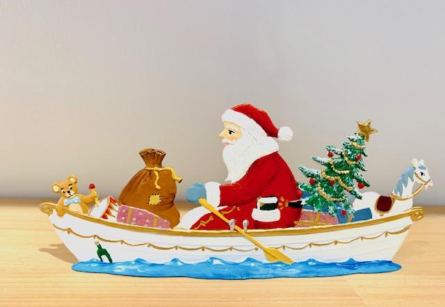 錫 スタンド ウィルヘルム・シュヴァイツアー ボートに乗るサンタクロース