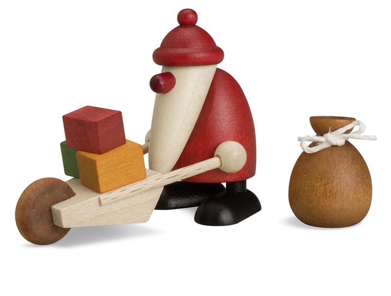 ビヨルンケーラー・プレゼントの荷車を運ぶミニミニサンタとプレゼント袋